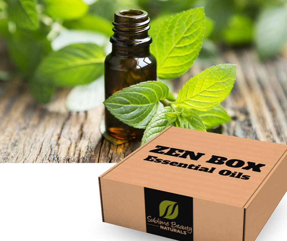 zen box with essential oil and plants